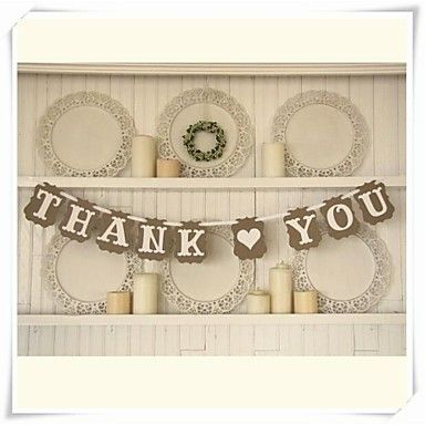 """Wedding+Décor+""""THANK+YOU""""+Bunting+Banner+Rustic+Shabby+Garland++Photo+Prop+–+AUD+$+12.86"""