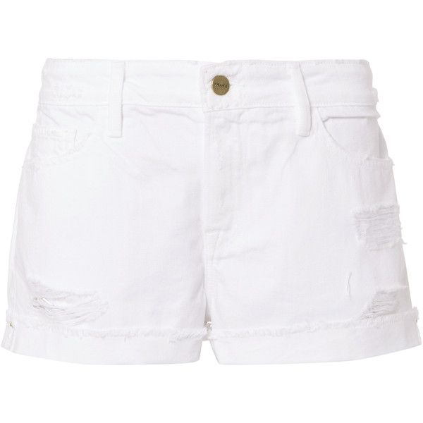 Frame Le Grand Garcon  Jean Shorts ($69) ❤ liked on Polyvore featuring shorts, white, white shorts, cuffed denim shorts, cuffed shorts, summer shorts and short denim shorts