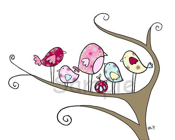 Nursery Bird Art - The Hangout 8x10 Print. $15.00, via Etsy.
