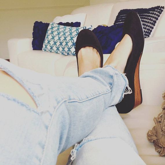 ANNA- Wedge- Suede Shoes- 40- Black. Available in different sizes