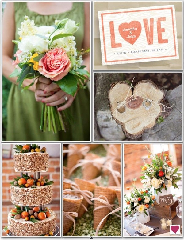 Green and Peach Rustic Wedding Inspiration Board. Love the wood ring board, love the cake.