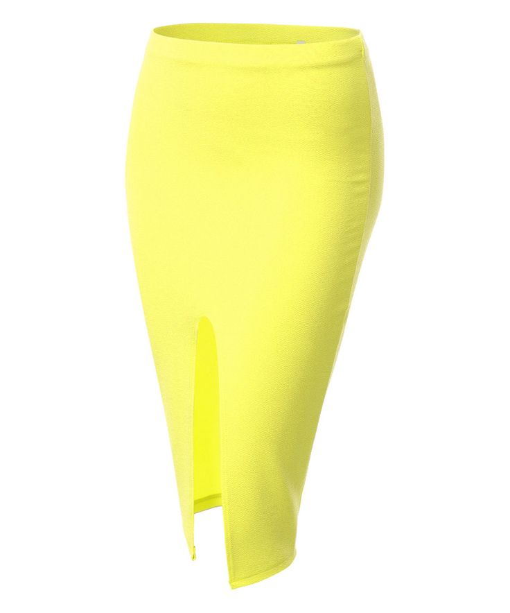 Take a look at this Neon Yellow Front-Slit Pencil Skirt - Plus Too today!