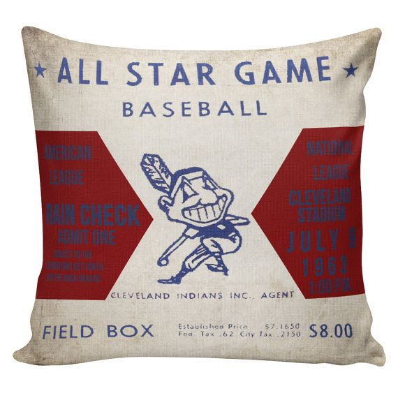 Cleveland Indians Vintage Baseball Pillow by ElliottHeathDesigns Baseball Themed Rooms Sports Room Mens Gifts Boys