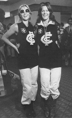 Agnetha and Frida in my team's jumpers - Melbourne AU 1977