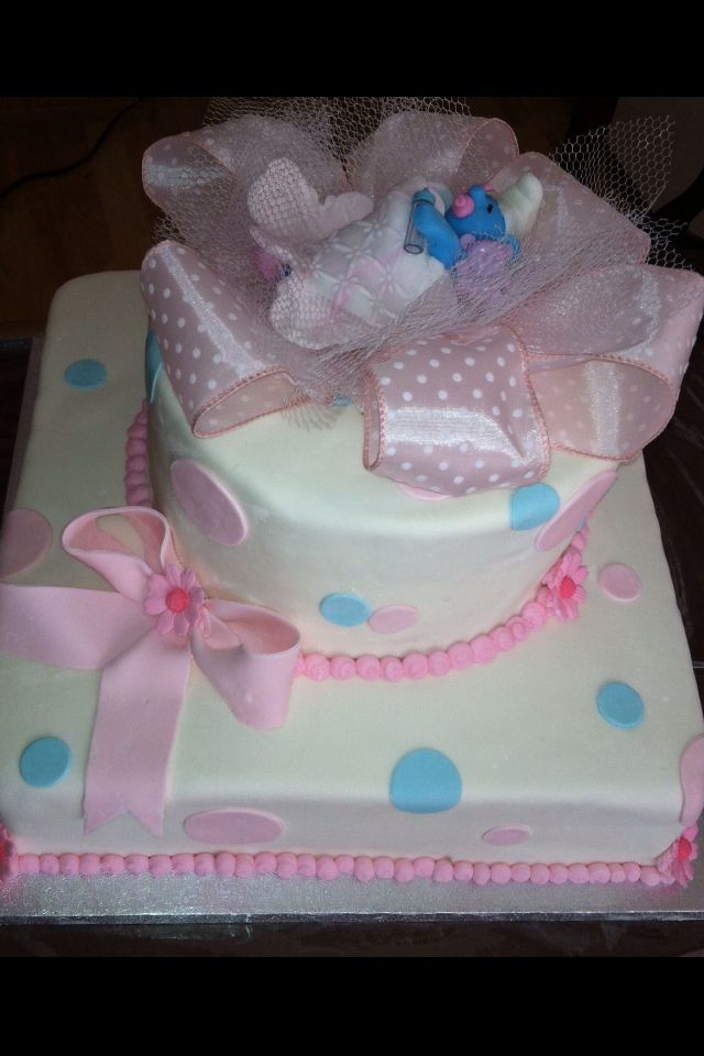 Smurf baby shower cake...Its a girl shower