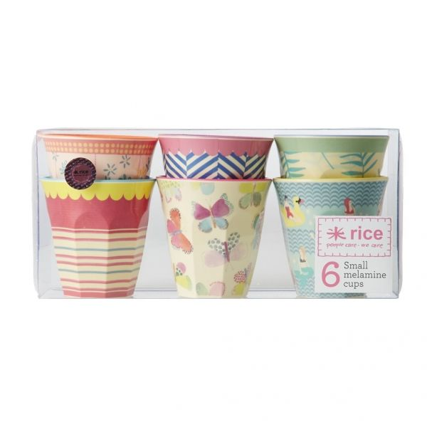 Rice Melaminmuggar Små Two Tone Cups med 'Go for the Fun' Mönster 6 st