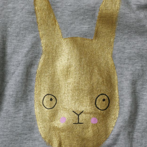 Rabbit: Gold Fabrics, Gold Paintings, Paintings T Shirts, Paintings Bunnies, Fabrics Paintings, Bunnies T Shirts, Golden Paintings, Gold Bunnies, Bunnies Tees