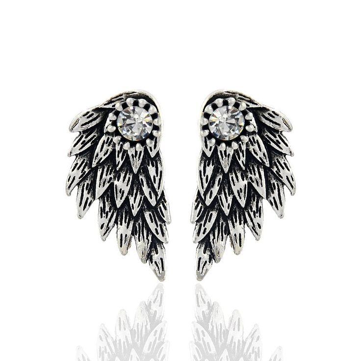 고딕 양식의 실버 색상 쿨 천사 날개 합금 스터드 귀걸이 멋진 검은 깃털 귀걸이 여성 남성 패션 보석
