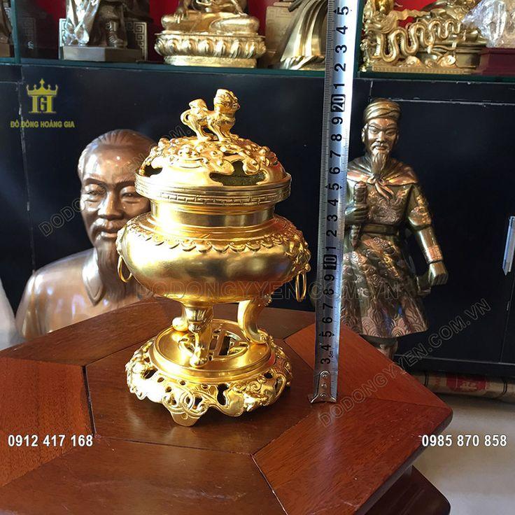 Đỉnh Trầm Mỹ Nghệ Dát Vàng 9999 cao 20cm