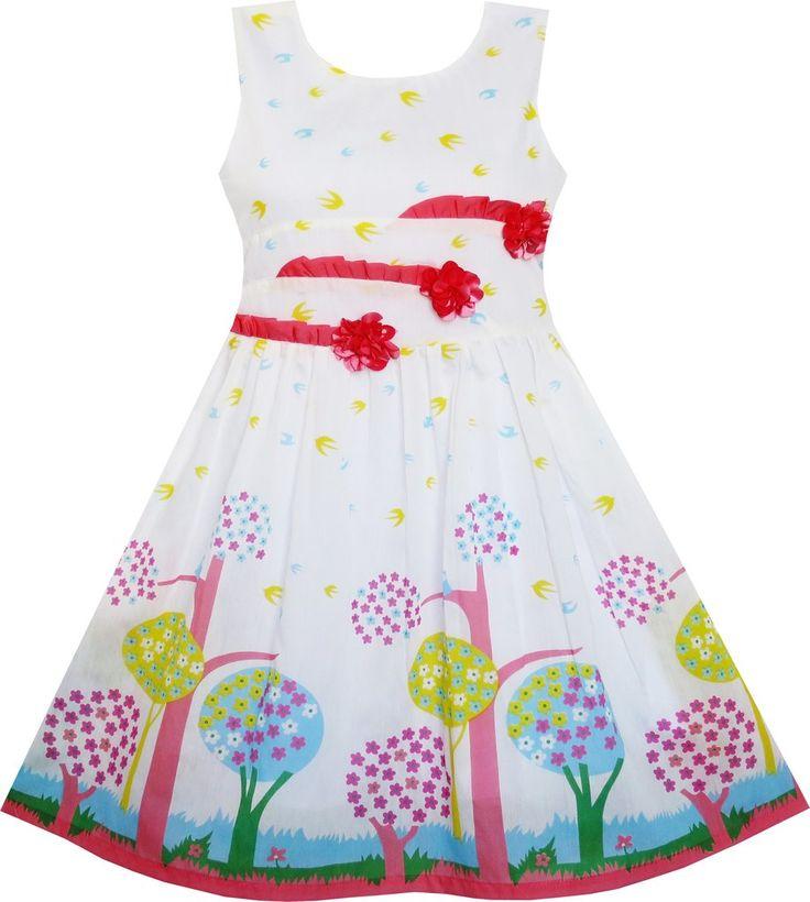 Girls Dress Sleeveless Tree Bird Flying Print Flower Red Size 4-12 Years