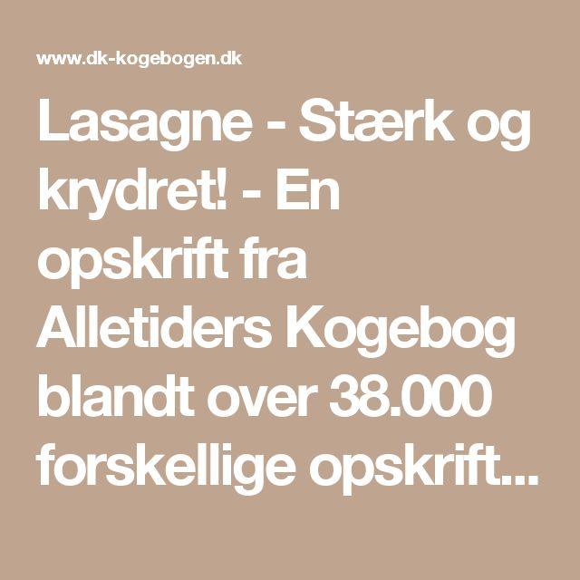 Lasagne - Stærk og krydret! - En opskrift fra Alletiders Kogebog blandt over 38.000 forskellige opskrifter på