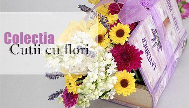 Ambalate intr-o gama larga de dimensiuni si culori, aceste aranjamente florale, cutii cu flori sunt o prezenta eleganta atat pentru casa cat si pentru birou si sunt gata de livrare pentru a insenina ziua oricui. Comanda cutii cu flori de sezon, cutii cu trandafiri, cutii cu orhidee, cutii cu flori speciale sau cutii cu flori parfumate cu livrare gratuita in Iasi si felicitare cadou!