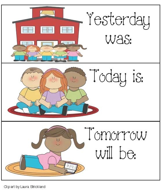 Classroom Freebies: Calendar Cards For: Yesterday, Today and Tomorrow