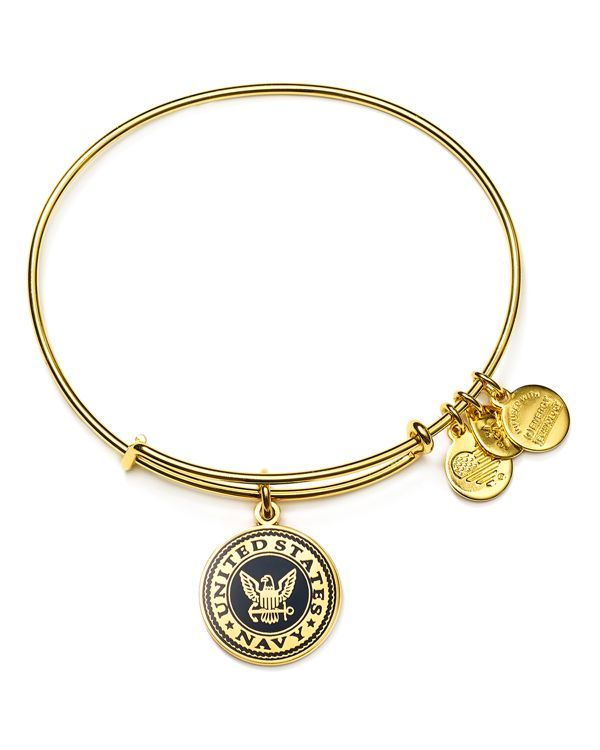 "Show your support of our brave troops in this patriotic bangle from Alex and Ani, featuring a charm honoring the United States Navy. | Made in USA | 2.25"" diameter 