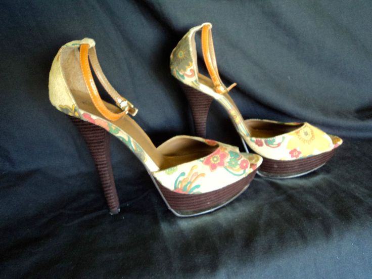 LUXE Size 9 Stiletto High Heel Gold Wedge Floral Peep Toe Ankle Strap Beige Shoe #luxe #OpenToe #Clubwear