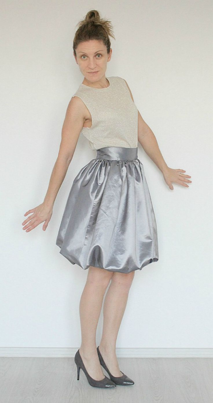 siver bubble skirt with silver cami for silverware?                                                                                                                                                                              More