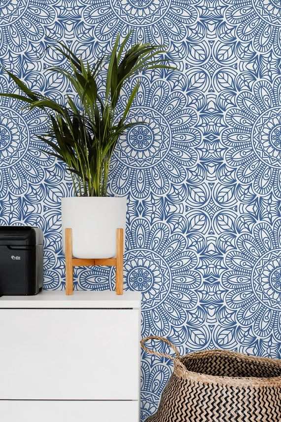 Moroccan Style Removable Wallpaper Blue Moroccan Tile Peel Etsy Moroccan Wallpaper Removable Wallpaper Bedroom Blue Moroccan Tile