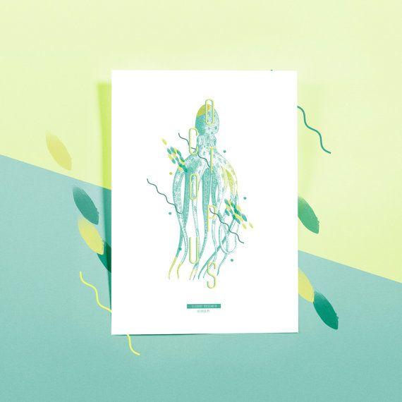 Botanic print - Affiche naturelle | faune marine - poulpe Eledone moschata #OCTOPUS -1-   |  Impressions botaniques & graphiques en édition limitée