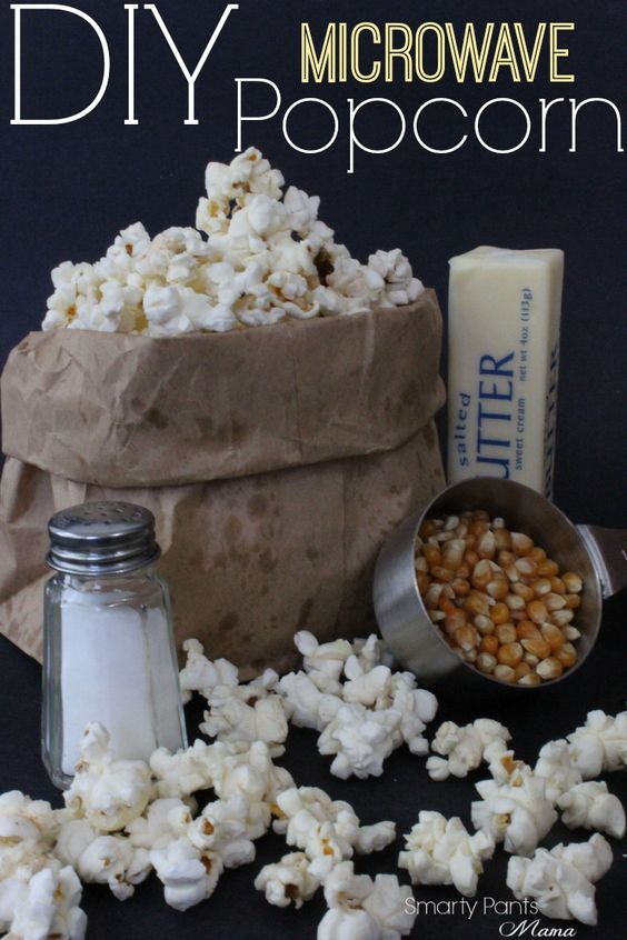 DIY Microwave Popcorn! Stay away from the chemical and make your own microwave popcorn! The recipe is so simple you'll wonder why you ever paid a dime for the store bags of popcorn! Enjoy this healthy snack with a movie!
