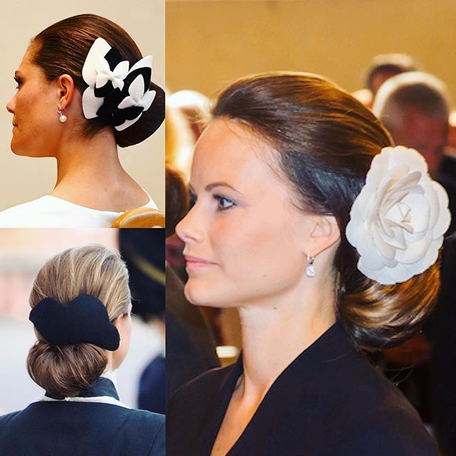 During the opening of the parliamentary session today all three princesses had a similar hairdo with a tight, low knot and hair accessory. Foto: TT och Stella Pictures
