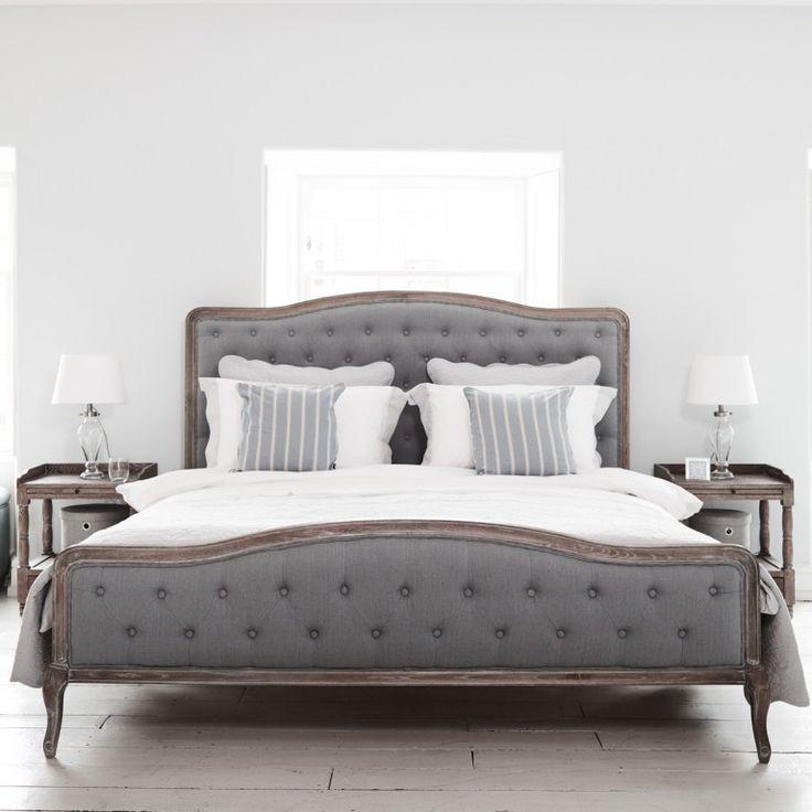 Chantal Bed - Grey Linen and Oak