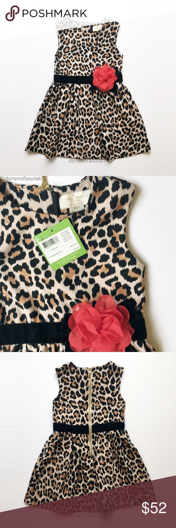 "KATE SPADE LEOPARD mini dress top toddler girls 4Y KATE SPADE new york skirt the rules  classic  leopard print. organza rosette. luxury gold hardware.  "" she is quick and curious and playful and strong "".  new with tags, pet/smoke free.  laid flat:  chest:  shoulders: 10.75"" shoulders: 9.75 shoulder to hem: 21""  party occasion everyday casual school birthday special fancy animal faux cheetah cat fur velvet belted belt red flower floral winter holiday toddler baby babies little kate spade…"