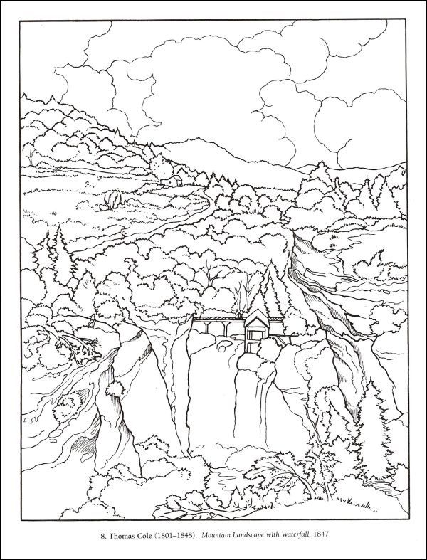 125 best Color Art images on Pinterest Coloring books, Coloring - best of waterfall coloring pages