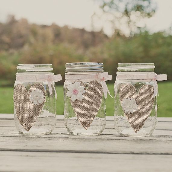 Burlap mason jar. Wedding Centerpiece. Burlap by StyleJarsandCans