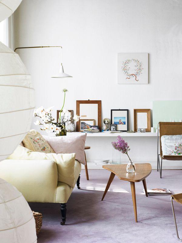 (via dustjacket attic: Paris Apartment): Paris Apartment, Living Rooms, Living Spaces, Vanessa Bruno, Shelves, Interiors Design, Paper Flowers, Coff Tables, Pastel Colors