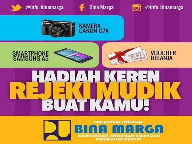 Kontes Meme Mudik Asik Bina Marga Berhadiah Kamera Canon G7X - Hai sobat MisterKuis, hanya dengan mengirim Meme kreasi-mu, kamu bisa memenangkan hadiah kece