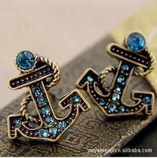 E184 Wholesale New Hot High Fashion Vintage Blue Anchor Stud Earrings Jewelry earing For Women Accessories Aliexpress