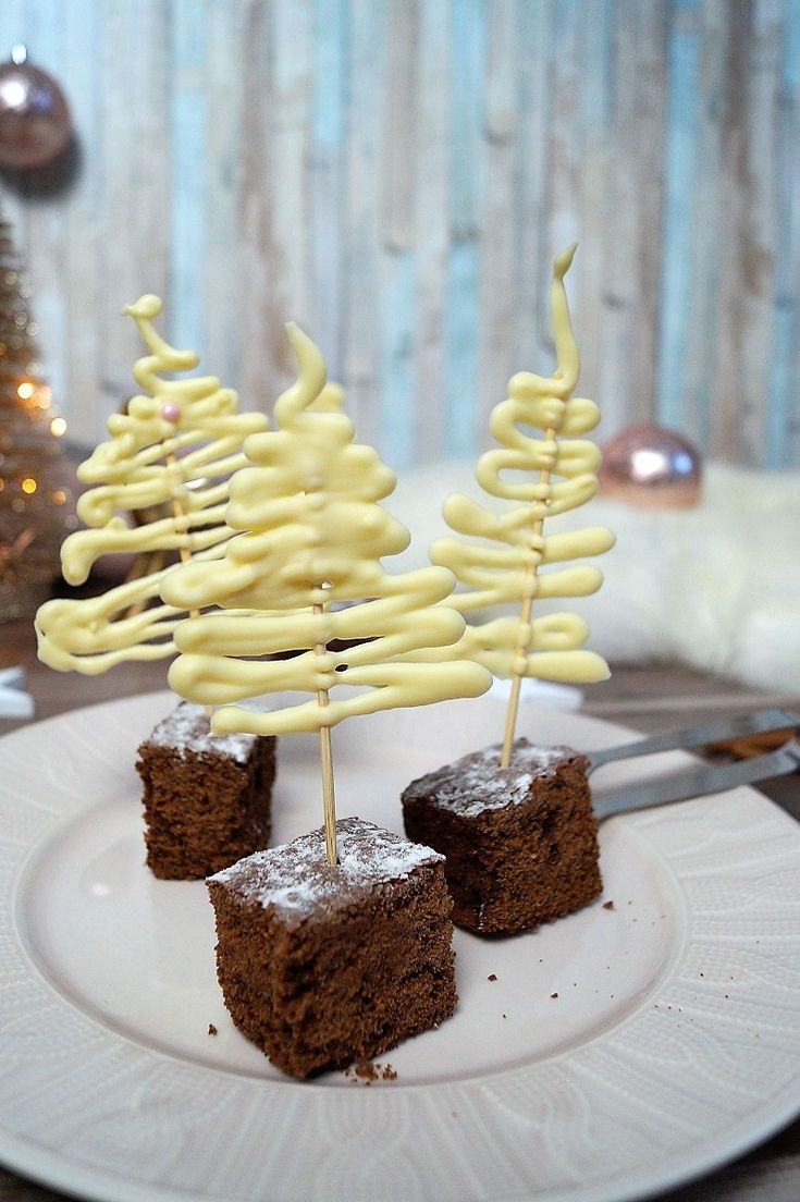 Delicious cinnamon cake and decorative chocolate trees