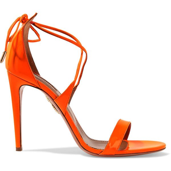 Aquazzura Linda patent-leather sandals (750 AUD) ❤ liked on Polyvore featuring shoes, sandals, bright orange, tie sandals, neon orange shoes, bright orange shoes, high heel sandals and high heeled footwear