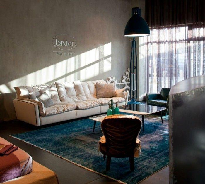 Baxter Sofa Weiße Couch Italienisches Design Stehlampe Teppich Wohnzimmer  Einrichten