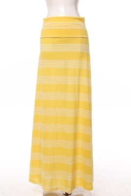 Yellow Stripe Maxi Skirt