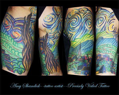 www.facebook.com/preciselyveiledtattoos #tattoo #tattoos #tattooideas #tattooidea #starry #starrynight #night #vangogh #nighttattoo #vangoghtattoo #sleeve #tattoosleeve