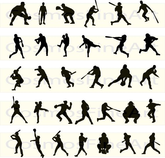 Base ball silhouette digital clipart 32 PNG 32 by CosmosFineArt