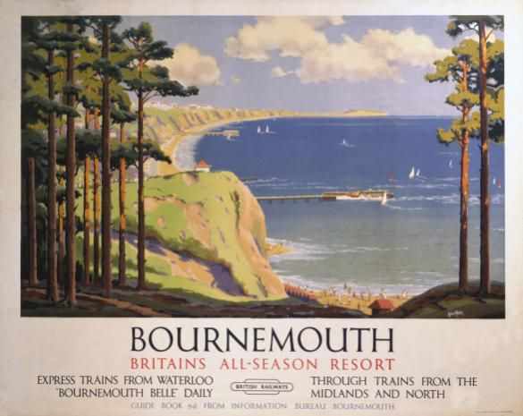 Travel Poster.  Bournemouth, Southern England. Britain's All Season Resort by British Railways. Art by Aiker Tripp.