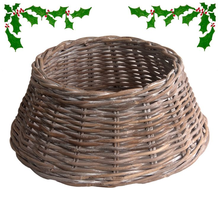 Round Wicker Christmas Tree Skirt Or Stand Cover Which Comes In 3 Sizes And Will Hide Your Unsightly Bucket