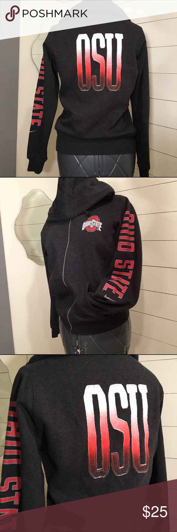 Ohio State Buckeyes Nike Zip Up Jacket Ombré NWOT Women's Nike Ohio State Zip Up Jacket  Ohio State on the sleeve OSU on the back with ombré coloring and metallic stitching  Never worn! Sweatshirt material, soft and comfy fabric Size: Large  Measurements: 20.5 pit to pit, 16 hip, 24.5 sleeve Nike Tops Sweatshirts & Hoodies