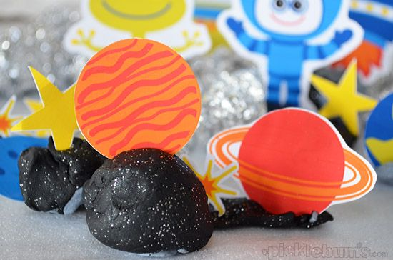 Space Crazy - free printable space characters to download print and play with! Like the clay and tin foil too