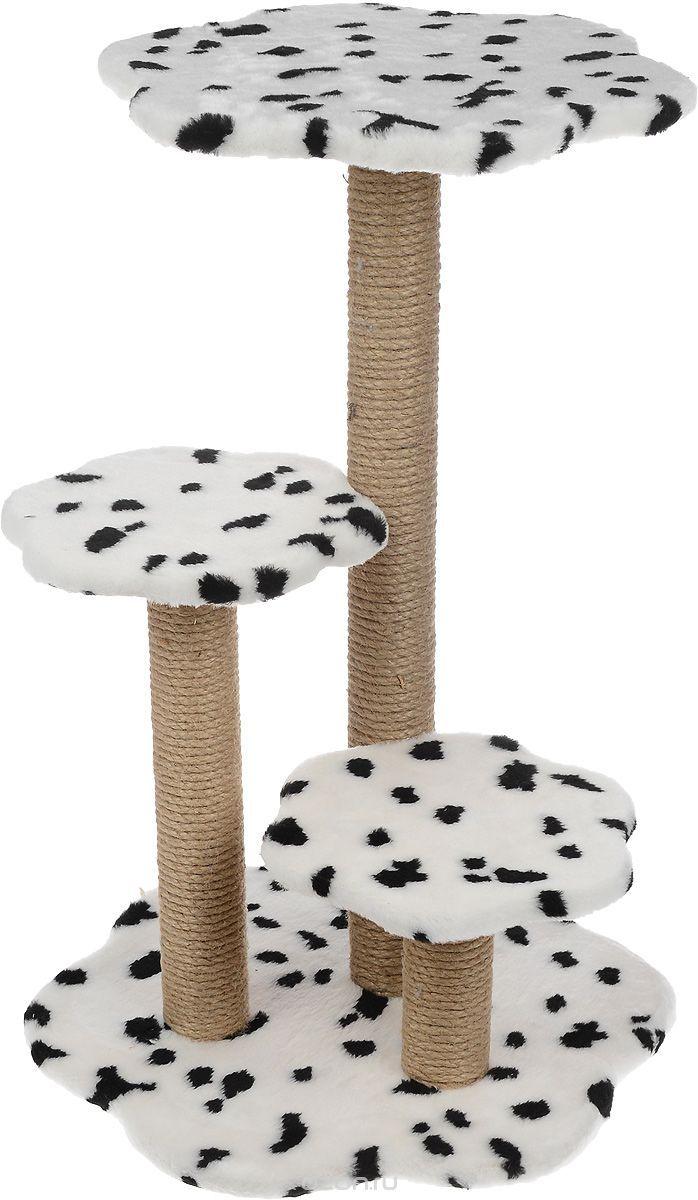 """Когтеточка Меридиан """"Цветы"""", с 3 полками, цвет: белый, черный, бежевый, 74 х 46 х 48 см - товары для животных по выгодным ценам с доставкой. Интернет-магазин OZON.ru: фотографии, описания, отзывы покупателей. Выбирайте!"""