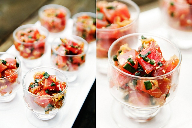 Red Party Bite: Hawaiian Ahi Poke set up in party mode, individual glasses.