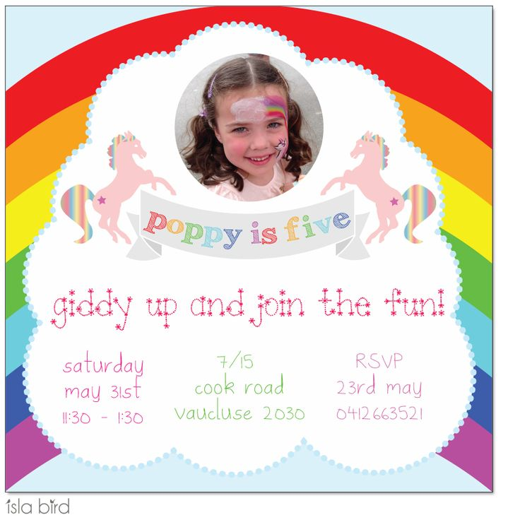 rainbow pony birthday party invitation from Isla Bird Stationery (http://www.islabird.com/rainbow-pony-birthday-party-invitation/)