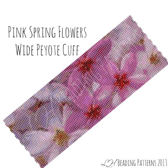 Pink Spring Flowers Wide Peyote Cuff Pattern #spring #floral