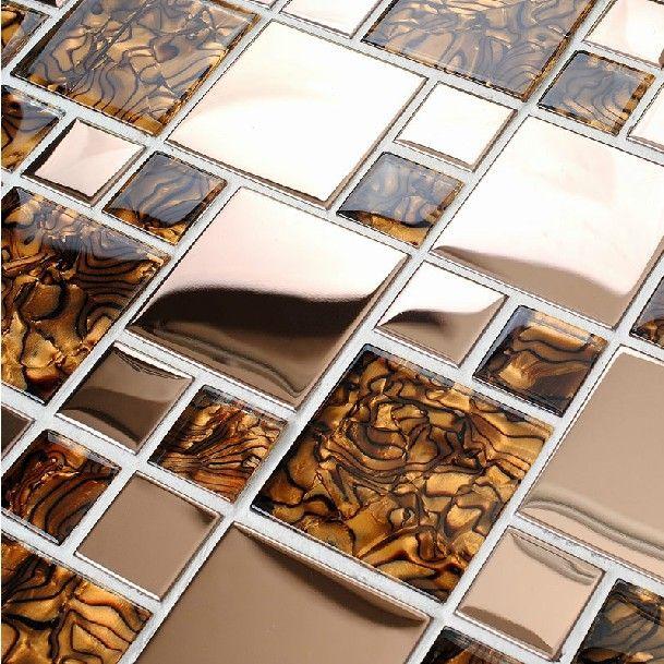 Modern glass steel tile kitchen backsplash vanity countertops steel bath wall bar floor tiles mosaic brown zebra-stripe tiles US $261.14