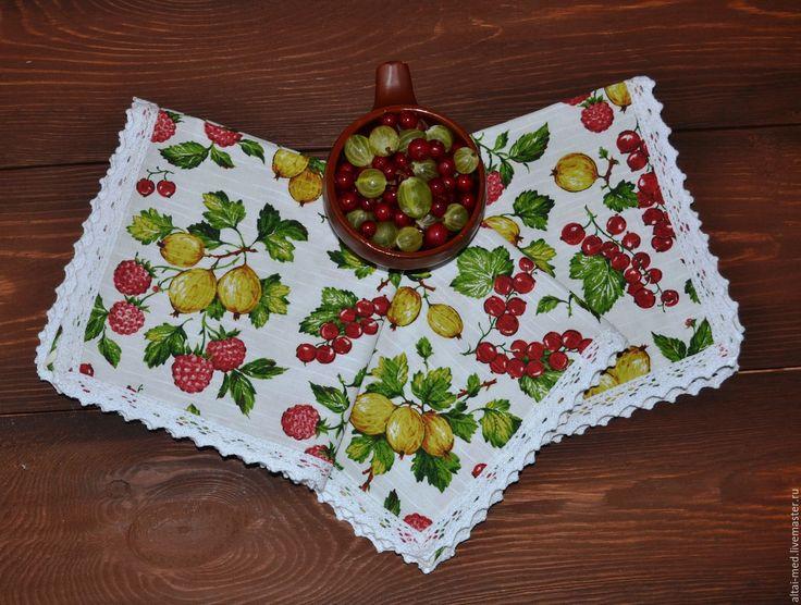 Купить Садовые ягоды - кружевные салфетки. Салфетки на стол. - садовые ягоды, салфетка на стол