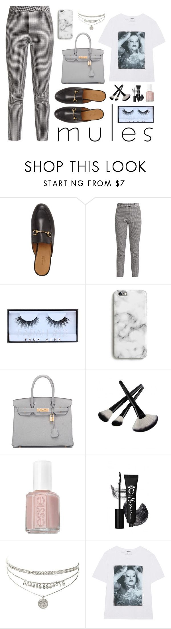 """Gray scale"" by lanagur on Polyvore featuring мода, Gucci, Altuzarra, Huda Beauty, Harper & Blake, Hermès, Essie, Kenzo, pants и Tshirt"