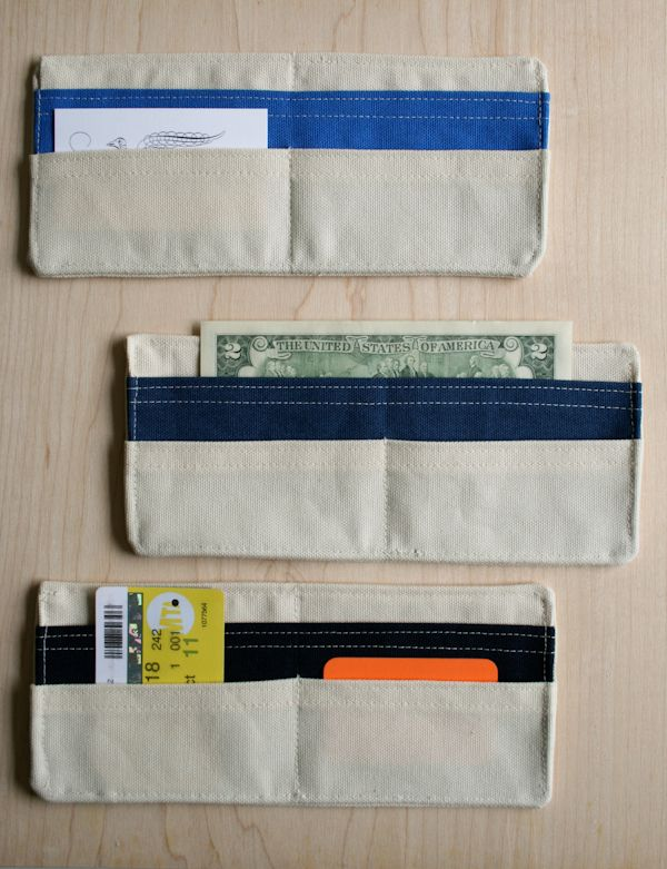 Full tutorial on making these summertime wallets made from cotton duck fabric. Seems fairly simple and quick and their good for either men or women depending on the color of fabric you choose.