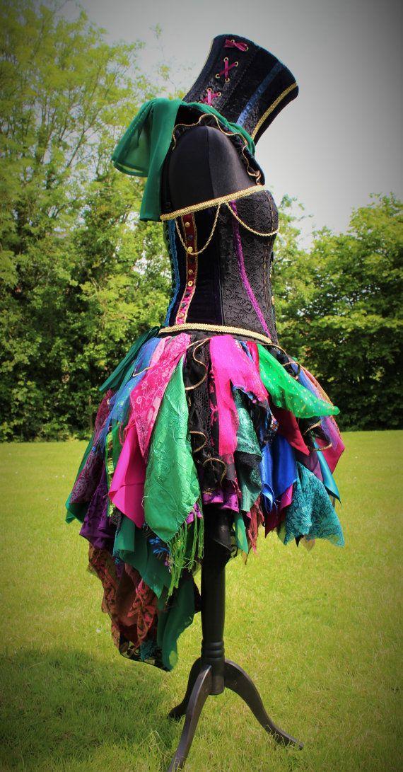 Hand Made Mad Hatter Skirt. Wonderland Costume. Bustle Skirt.